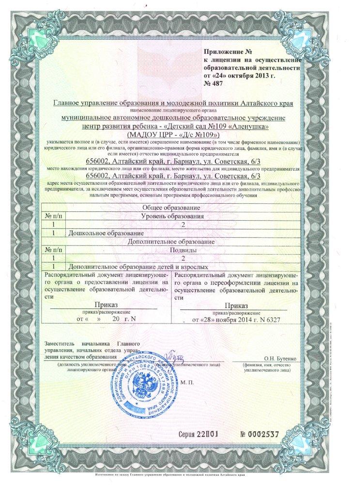 Приложение 1 к Лицензии на осуществление образовательной деятельности