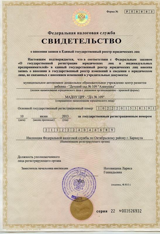 Свидетельство о внесении записи в ЕГРЮЛ, ИНН